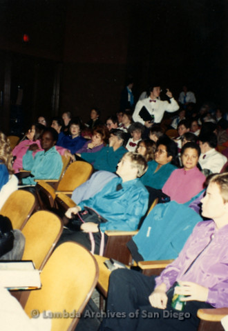 """""""The Magic Music Makes"""" San Diego Women's Chorus (SDWC) first choral festival with Sister Singers 1991: Chorus members listening to other groups perform during the Music Festival."""