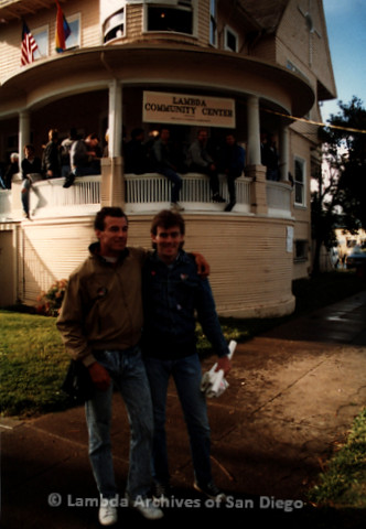 P019.399m.r.t March on Sacramento 1988: Two men standing in front of the Lambda Community Center of Sacramento