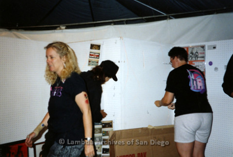 P119.003m.r.t Debbie Zeyher and a group of Lambda Archives members set up  a display at San Diego Pride Festival, early 1990's