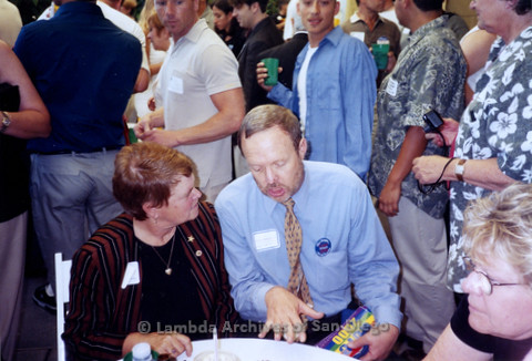 P338.013m.r.t 2000 Democratic National Convention Los Angeles: Charles McKain and Sheila Keuhl sitting at a table