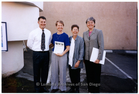 P200.020m.r.t LASD's 10th Anniversary at the Center: (L to R) Dennis Fiordaliso, Sharon Parker, Karen Marshall, and Christine Kehoe standing outside