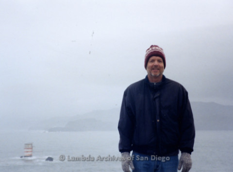 P338.078m.r.t Charles McKain standing in the fog in front of the bay at Lands End in San Francisco