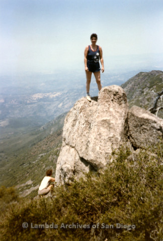 P008.124m.r.t Cuyamaca 1986: A hiker at the top of the mountain