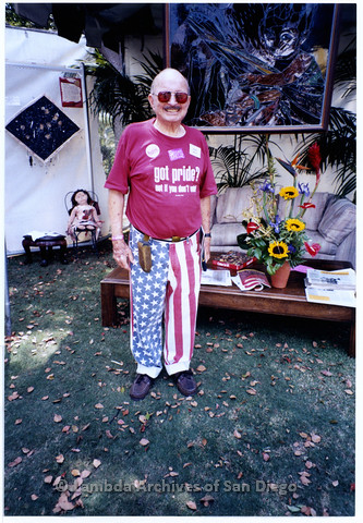 P201.028m.r.t San Diego Pride Parade 2000: Oral History Interviewee, Herb King, standing outside on grassy area