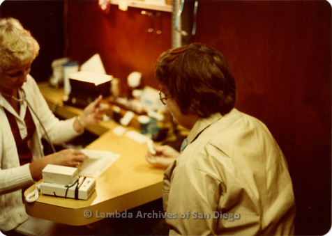 Blood Sisters blood drive, 1983-Peggy Skill checking in