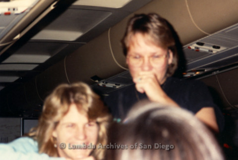"""""""The Magic Music Makes"""" San Diego Women's Chorus (SDWC) first choral festival with Sister Singers 1991: Chorus Members including Pianist  Deborah Morton (Standing) on the airplane heading to Houston."""