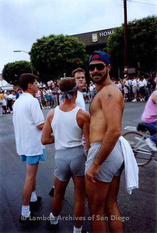 P018.073m.r.t San Diego Pride Parade 1991: Men waiting for parade