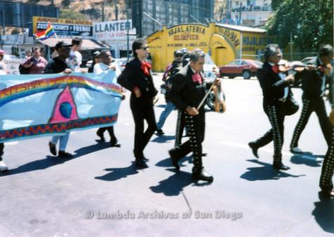 P018.138m.r.t Tijuana Pride Parade 1996: Mariachi band in parade