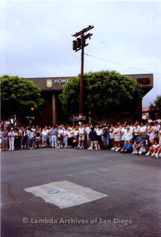 P018.059m.r.t San Diego Pride Parade 1991: Audience waiting for parade