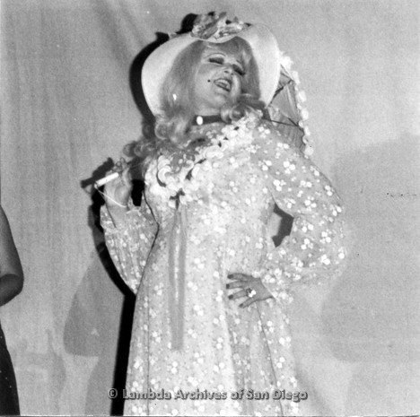 P355.018m.r.t Halloween Party 1976 Ball Express: Drag queen in princess costume on stage