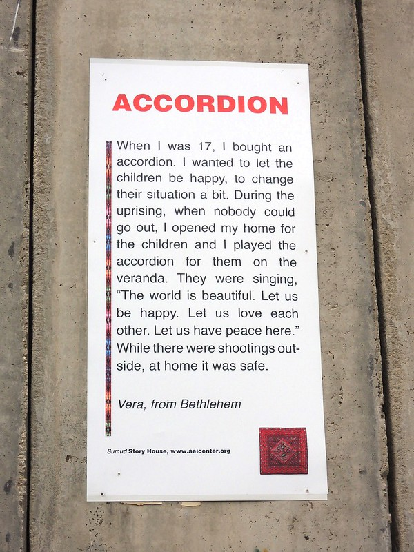 An example of one of the many stories posted on the Apartheid Wall by bryandkeith on flickr