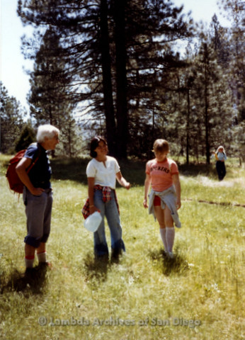 P008.026m.r.t Mt. Palomar 1983: Margaret Lewis, Sue, and Jan in a field