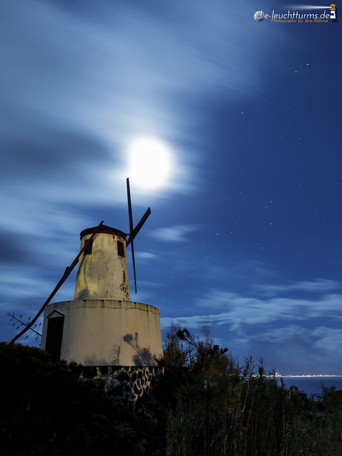 Windmill in moonlight
