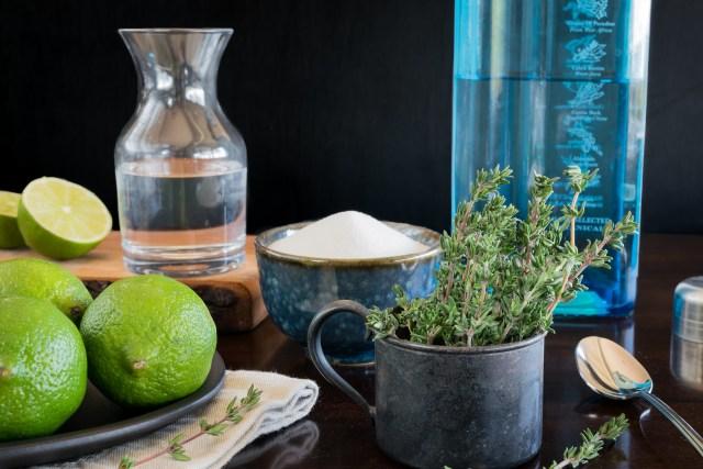 gin, thyme, sugar, and limes