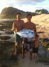 Thanks for the fresh tako uncle gary. 24 lbs kagami. James and Trev.