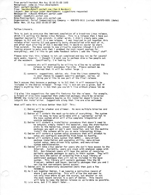 Debian announcement (8/16/1993)