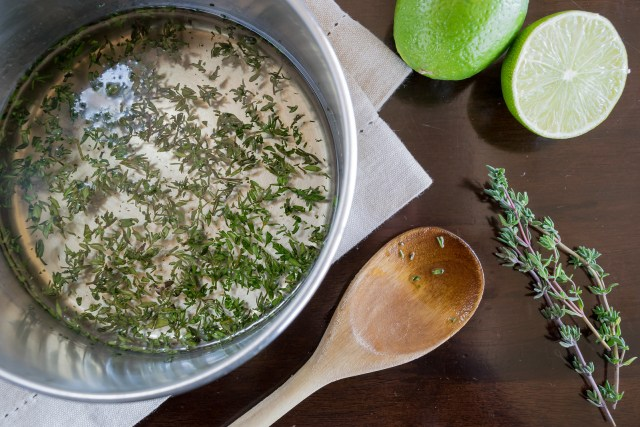 thyme syrup, ready to strain