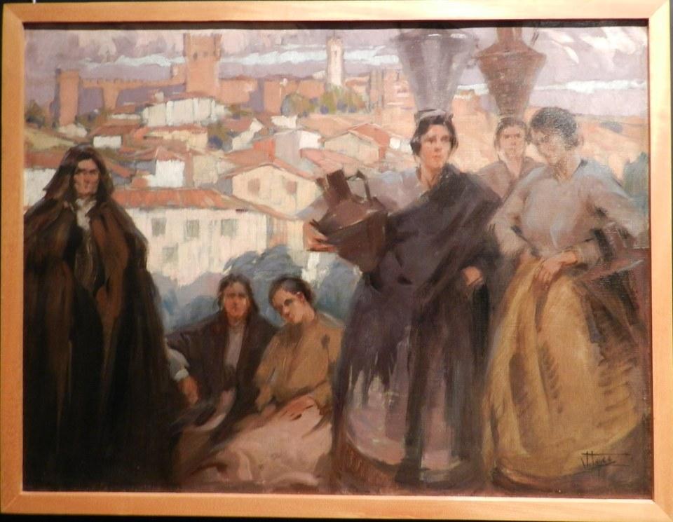 Pintura mujeres con cantaros en la cabeza Museo Abade de Bacal Braganza Portugal 01
