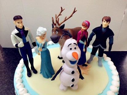 frozen birthday cake close up