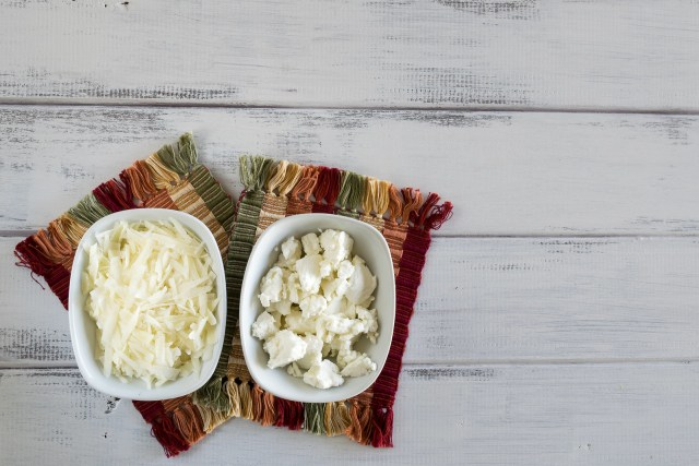 pecorino romano and goat cheese