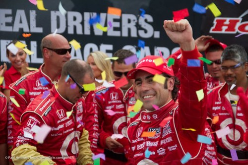 Dario Franchitti celebrates his third victory on the Streets of Toronto.