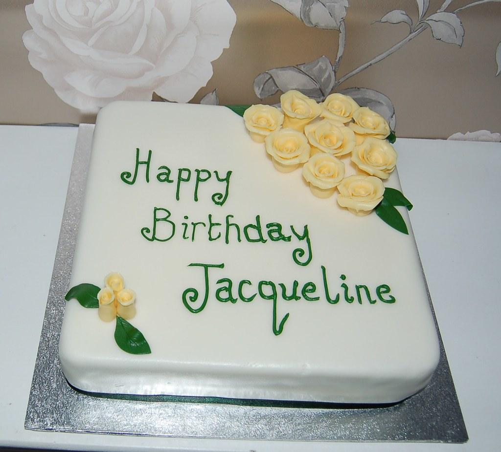 Happy Birthday Jacqueline Ivory Square Birthday Cake With Flickr