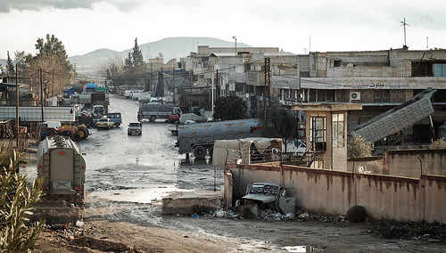Syrian street scene after the rain