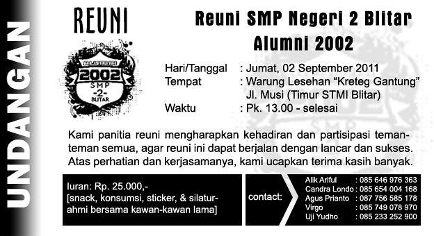 Undangan Reuni Reuni Alumni 2002 Smpn 2 Blitar Hari Ju Flickr