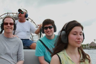 On our airboat, before the rain