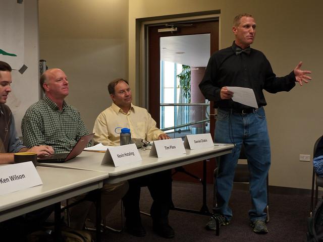 John Tayer introduces the debate format