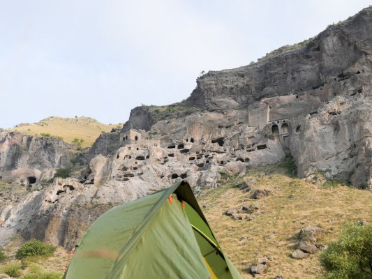 This old cave city still houses a monastery; great campspot with 5-6 tents underneath.
