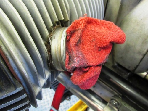 Rag Plugs Engine Intake To Keep Stuff Out