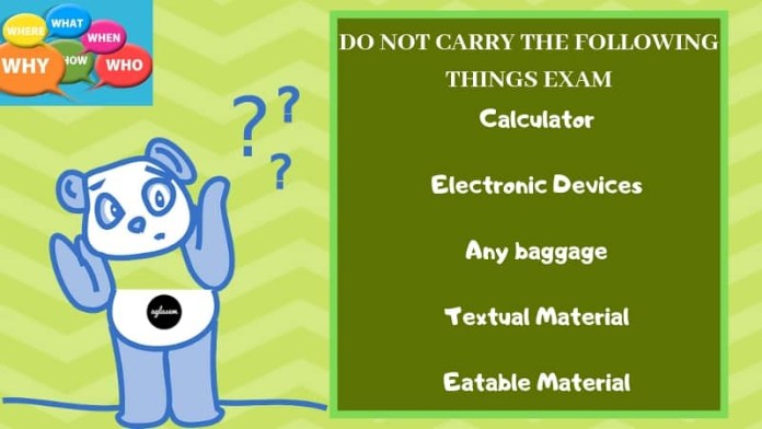 What not to carry on exam day