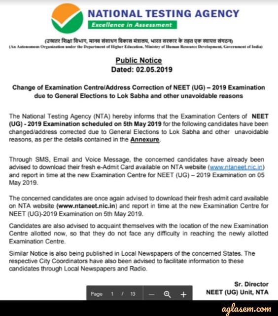 NTA NEET 2019 Exam Centre