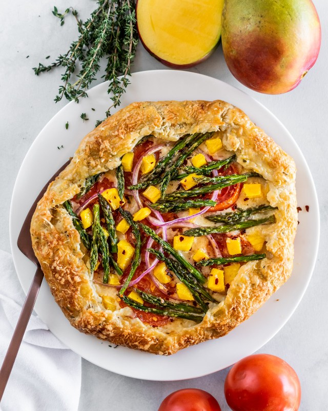 spring galette with asparagus, gruyère, and mango