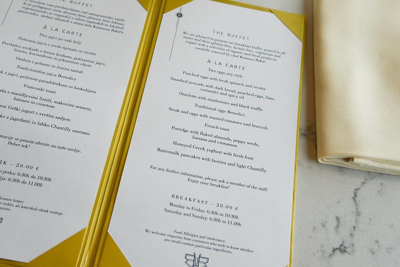 breakfast ala carte menu - intercontinental ljubljana