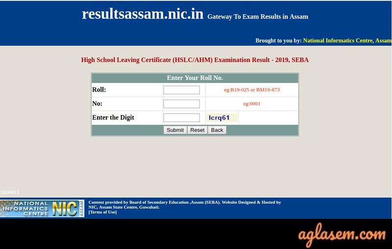 Assam HSLC Roll Number