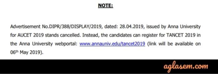 AUCET / TANCET 2019 Notice by Anna University