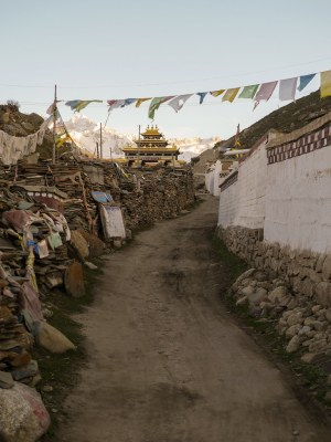 The entrance gate to the monastery in the distance, and the path covered in scripture-painted stones and rocks.