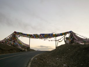 The border between Sichuan and Qinghai - at the top of a 4700m pass of course.