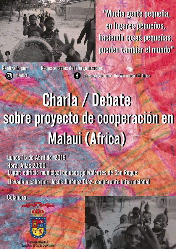 Charla-debate esta tarde en San Roque sobre proyectos de cooperación en Malaui