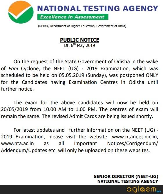 NEET 2019 Admit Card (Re Issued for Odisha, Siliguri and Karnataka)   Download Here Hall Ticket