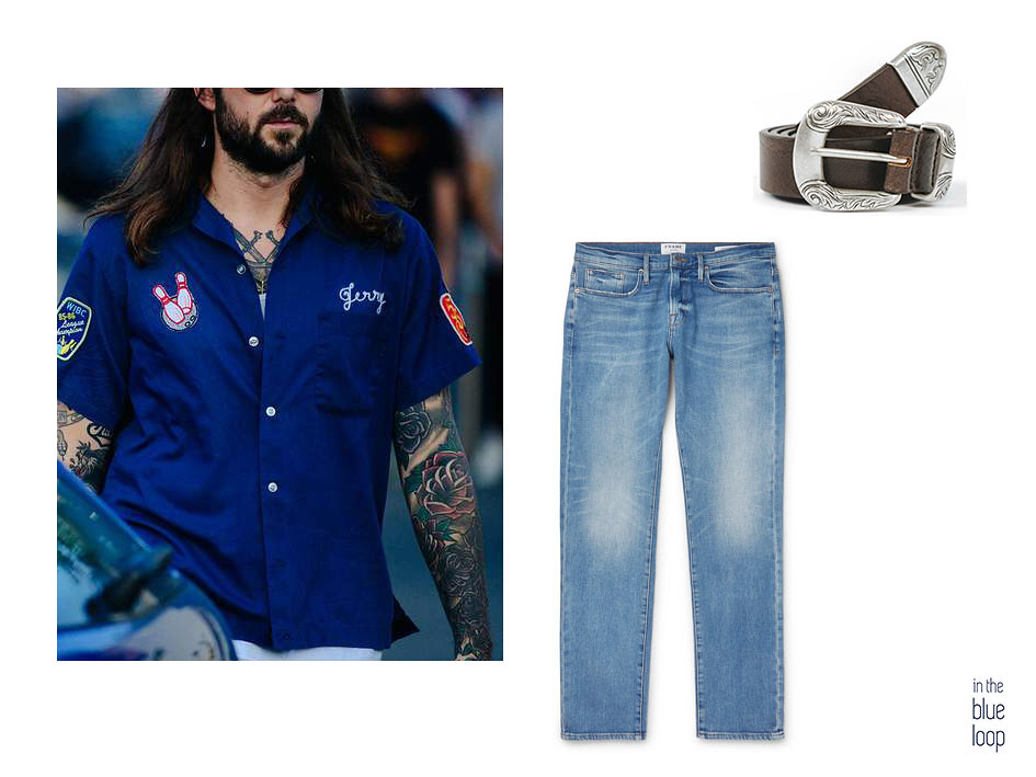 Look hombre casual con vaqueros, camisa azul y cinturón Uga de blue hole