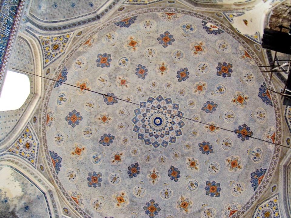 cúpula decoraciones interior Mezquita Kok Gumbaz Shakhrisabz Uzbekistán 09