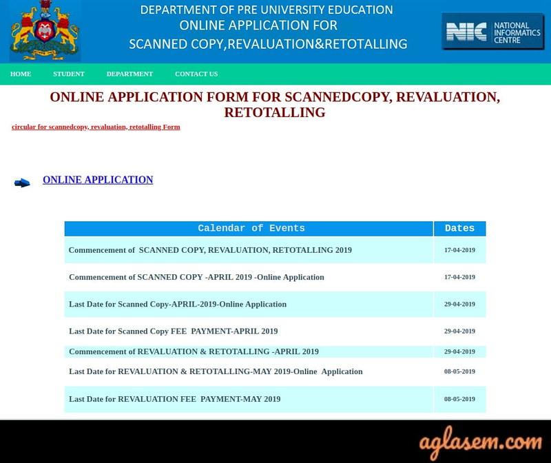 Karnataka 2nd PUC Revaluation/ Re-totaling 2019 Result