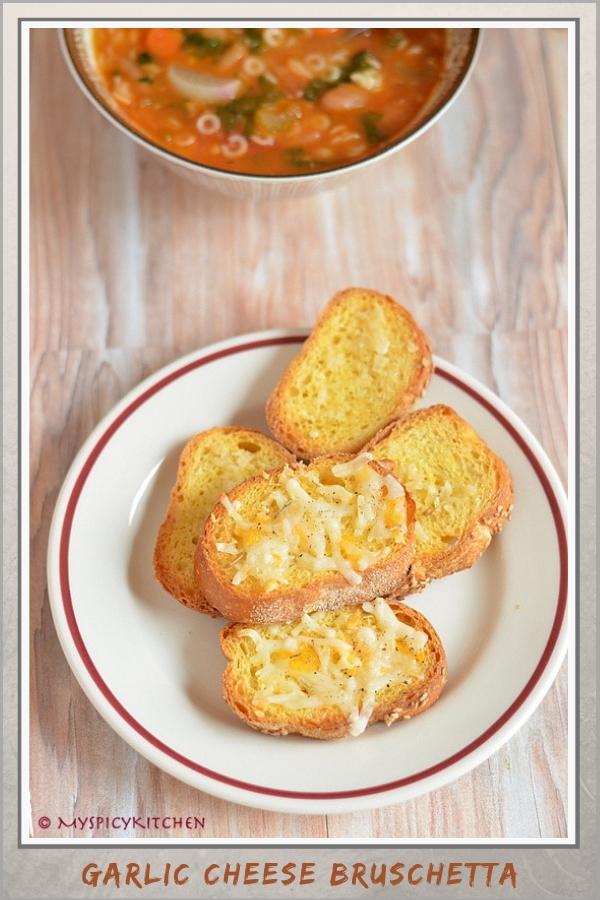Garlic cheese bruschetta