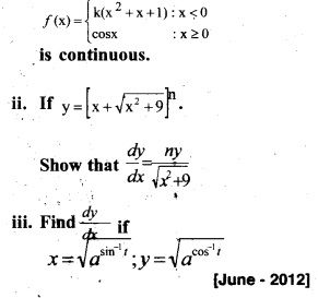 Plus Two Maths Chapter Wise Previous Questions Chapter 5 Continuity and Differentiability 22