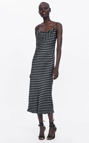 Vestido lencero lunares Zara