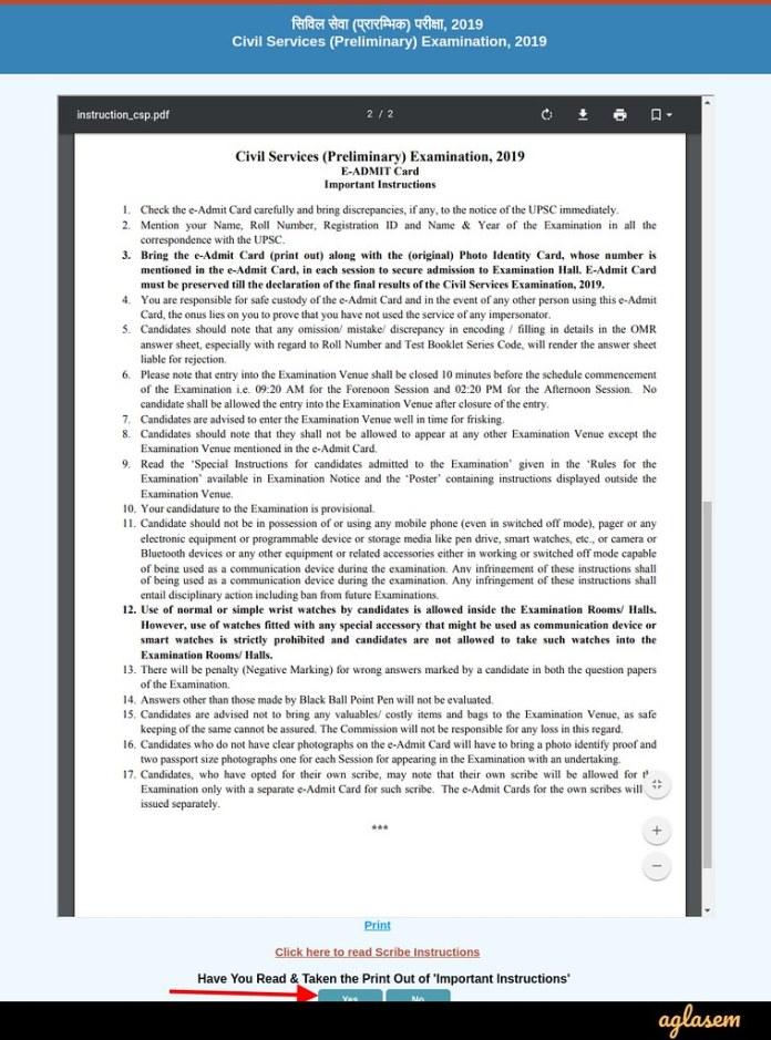 UPSC IAS/ Civil Services Admit Card 2019 - Important Instruction Page