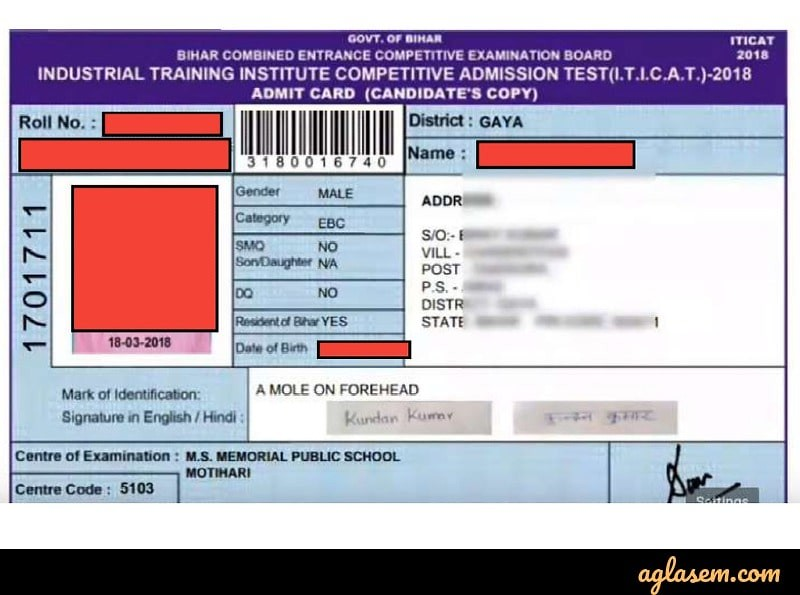 ITICAT Admit Card 2019 / Hall Ticket (Released) - Download